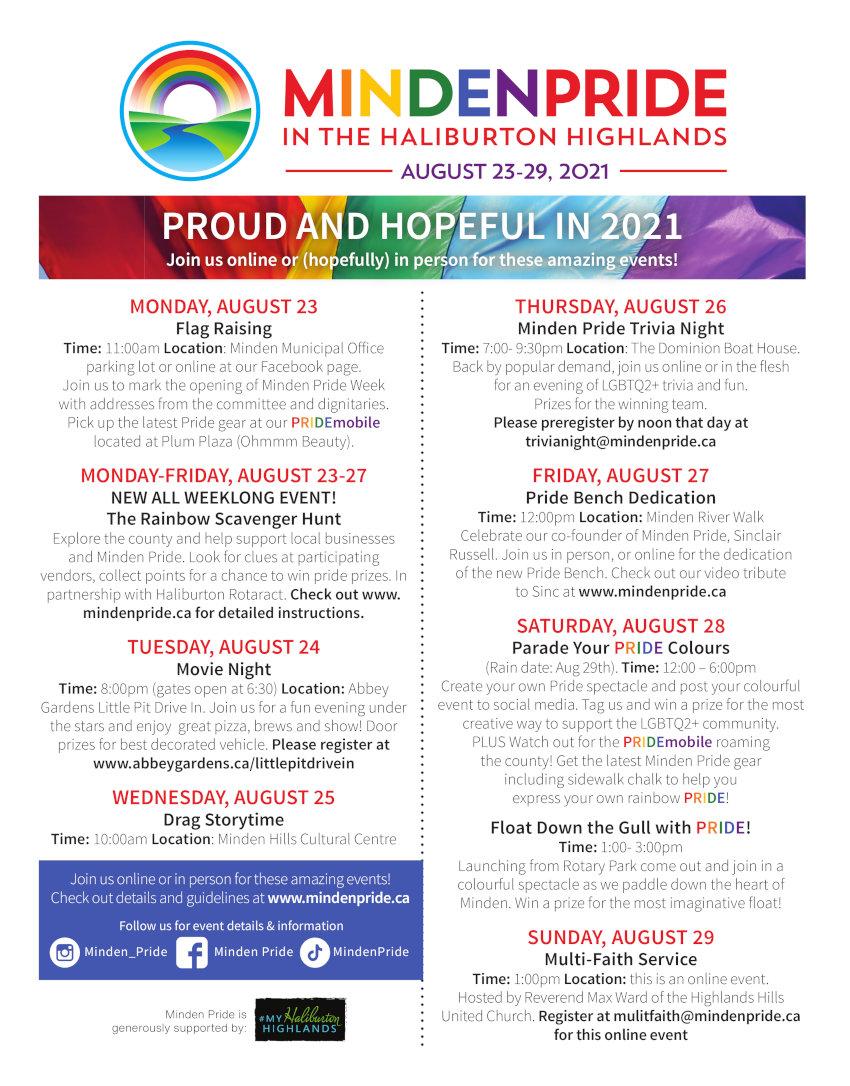Minden Pride Events Calendar for 2021